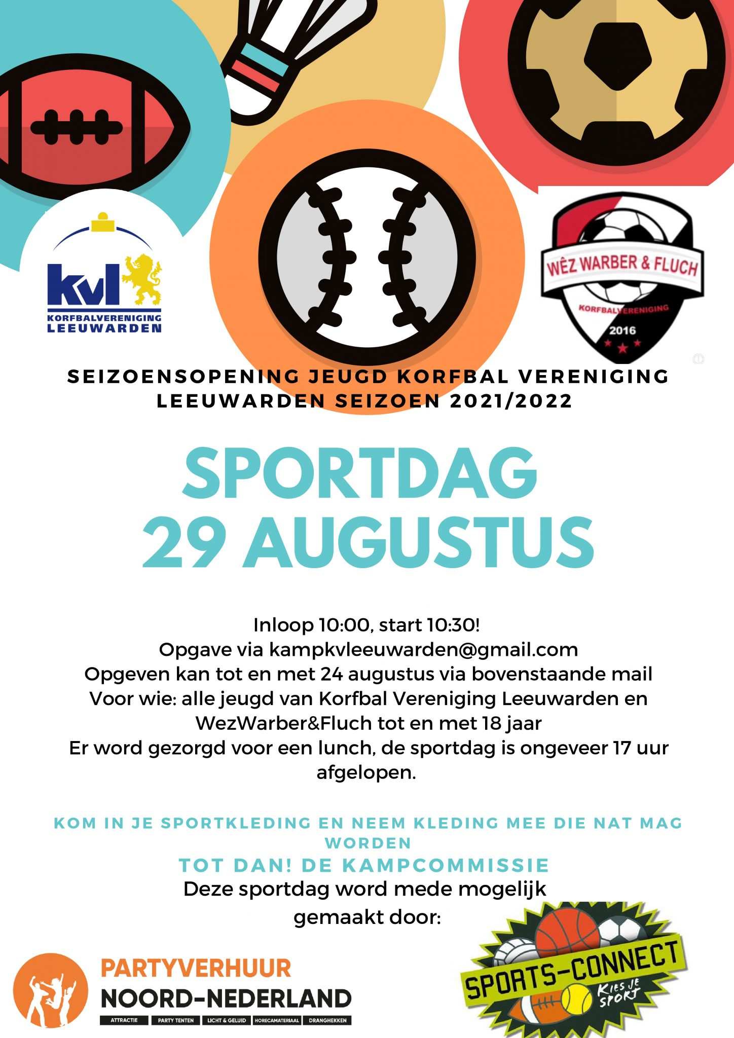Seizoenopening jeugd: Sportdag 29 augustus